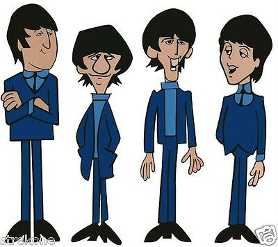 The BEATLES Animated Series Group of Window Cling Stickers Complete SET of 4 NEW