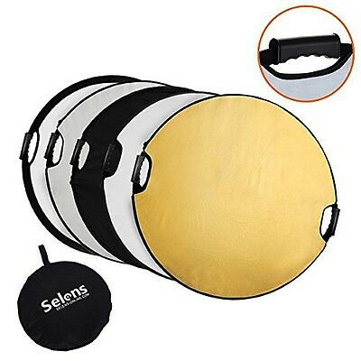 Selens 5-in-1 Handle 43 in (110cm) Round Reflector for Photography Photo Studio