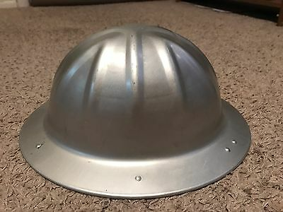 Vintage aluminum hard hat BF McDonald Co. construction with webbing and liners