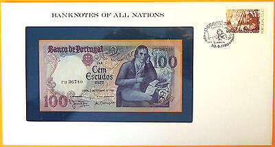 Portugal 1980 - 100 Escudos Uncirculated Banknote enclosed in stamped envelope.