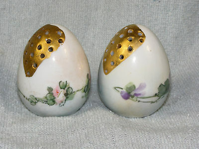 Antique Egg Form Salt & Pepper Shakers - Hand Painted