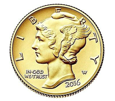 2016 W 10C Mercury Dime Gold 100th Anniversary..SP Mercury Dime W/ Mint BOX/COA