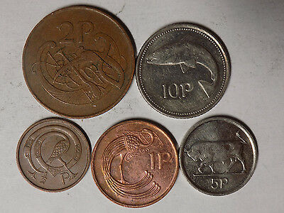 Ireland 5 Coin set - 1/2 Penny to 10 Pence