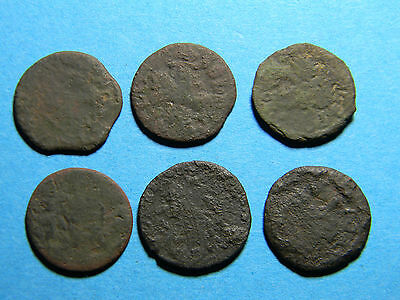 Lot of (6) 1660 -1666 Poland Lithuanian Copper Solidus coins