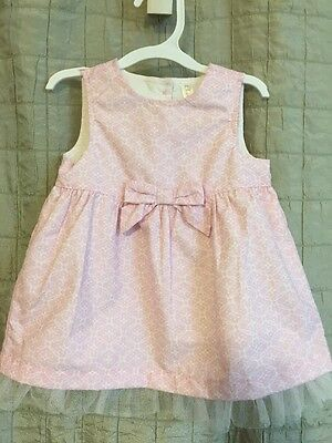 Cherokee Baby Girl Pink EASTER SPRING Dress With Tulle Size 6-9 Months