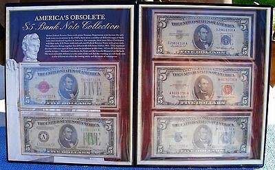 America's Obsolete $5 Bank Note Collection in folio (five $5.00 bills)