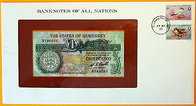 Guernsey 1980 to 1989 - 1 Pound - Unc. Banknote enclosed in stamped envelope.