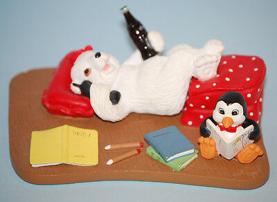 """1998 """"I Can Tell You Everything"""" Coca Cola Polar Bear Cubs Figurine"""