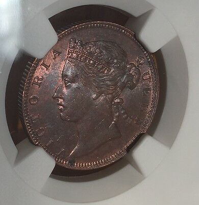 Straits Settlements 1889 1/2 Cent NGC MS63 BN with a traces of red