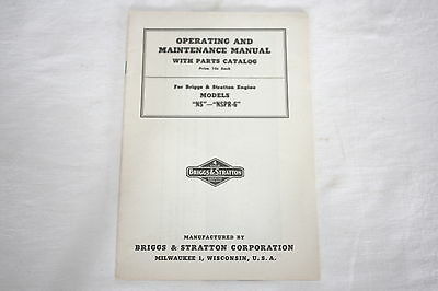 Briggs & Stratton NOS Operating & Maintenance Manual with Parts Catalog for NS
