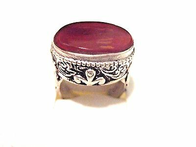 vintage islamic middle eastern Tribal Ethnic big red agate Ring خاتم اسلامي