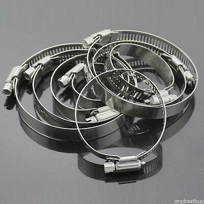 "10pc Set 3/4""-1"" Adjustable Stainless Steel Drive Hose Clamp Fuel Line Worm Clip"