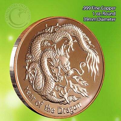 Year of the Dragon 1 oz .999 Copper Round