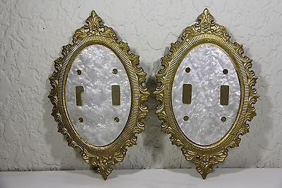 2 Vintage Gold Tone Light Switch Cover Plates Double Mother Pearl Floral Oval