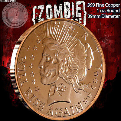 """Peace Dollar"" Z-Note 1 oz .999 Copper Round ApocalypeZe Zombie Series"