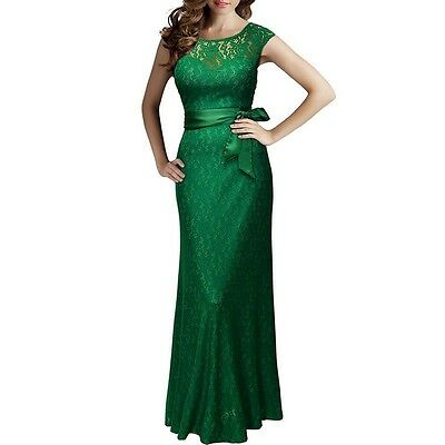 New Pageant Women Gown Prom Evening Formal Party Bridesmaid Lace Maxi Long Dress