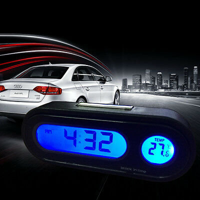 Car Auto Dashboard Digital LED Blue Backlight Electronic Thermometer Time Clock