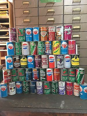 Assorted Soda Pop Cans - 50 Different Steel Bottom Cans