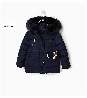 Nwt New Zara Girls Quilted Puffer Down Jacket Coat With Faux Fur Hood Ski Snow