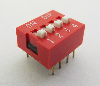5pcs 4 positions DIP Switch Red NEW Free shipping KXK