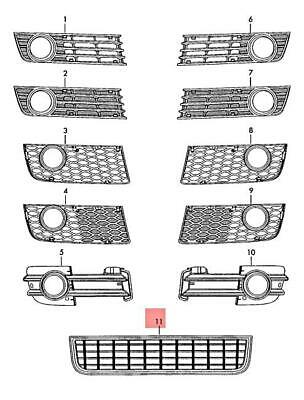 Genuine Black air guide grille AUDI A4 Avant B6 8E 8E0807647C5PV