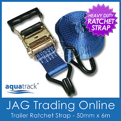 RATCHET TIE DOWN STRAP 6M x 50mm - Boat/Truck Load/Semi Trailer/Ute/4x4/ATV/Bike