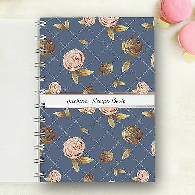 Personalised Recipe notebook Blush Rose. Lovely Present, Foodie Cooks Mums Gift