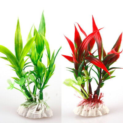 Artificial Fish Tank Water Tropical Plastic Aquarium Plants Ornament Decor