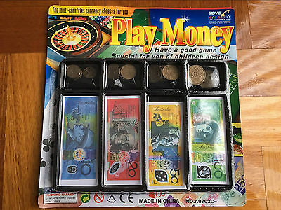 Childrens Kids Toy Fake Pretend Play Money Notes Australian Dollar Coin