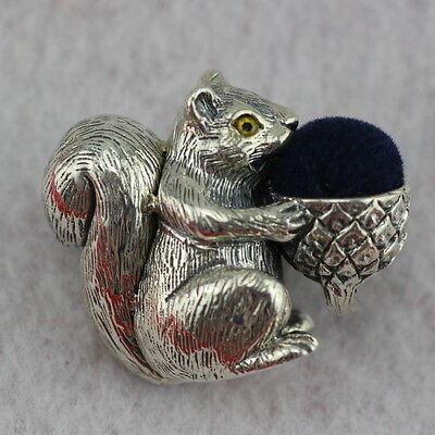 Novelty Sterling Silver Squirrel Acorn Pin Cushion
