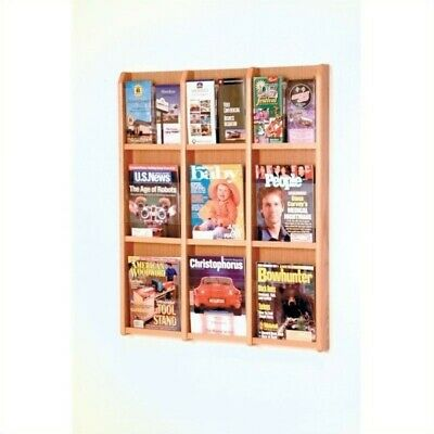 Wooden Mallet 9 Magazine and 18 Brochure Oak and Acrylic Wall Display Light Oak
