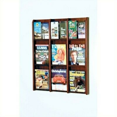 Wooden Mallet 9 Magazine and 18 Brochure Oak and Acrylic Wall Display Mahogany