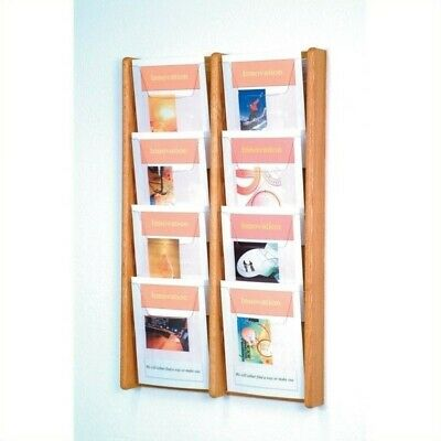 Wooden Mallet 8 Pocket Acrylic and Oak Literature Display in Light Oak