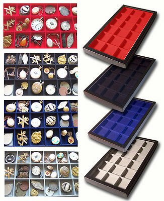 1 Glass Display Case Black 18 Division Badges Watches Jewellery Football Medal