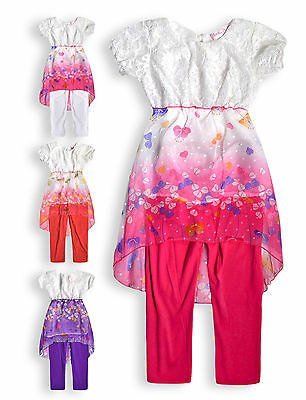 Girls Dress Legging Set New Kids Short Sleeved Lace Butterfly Tunic Top 2-8 Yrs