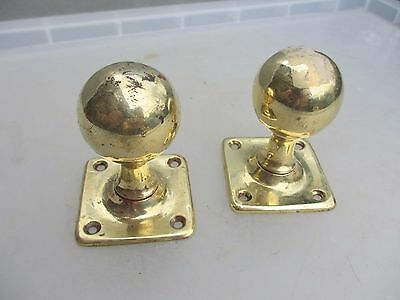 Victorian Brass Door Knobs Handles Square Plates Architectural Antique Vintage