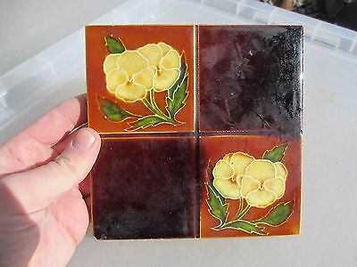 Antique Ceramic Tile Floral Flower Leaf Vintage Old Architectural Art Nouveau