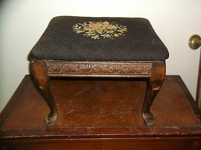 Vintage Needlepoint Foot Stool Floral Pattern With Wooden Legs 1930's(?)
