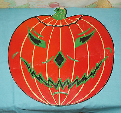 vintage Halloween PUMPKIN JOL WITH GREEN FEATURES embossed decoration cutout