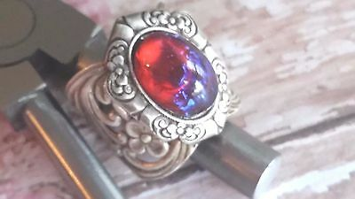 Fire Opal Ring with Ooak Dragon's Eye Catching in Victorian Setting Spring Sale