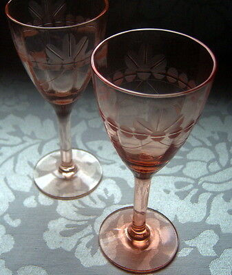 "Vintage Antique Cordial Glasses Coral Pink Color 5"" Tall Set of 2"