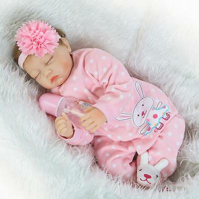 "22""Reborn Soft Body Silicone Baby Doll Lifelike Newborn Vinyl Baby Girl Dolls"