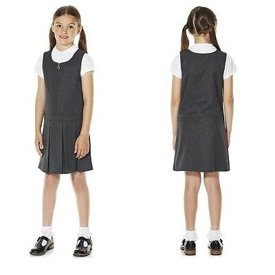 Ex Tesco Girls Grey Pleated Pinafore Dress School Uniform 3 to 9 Years