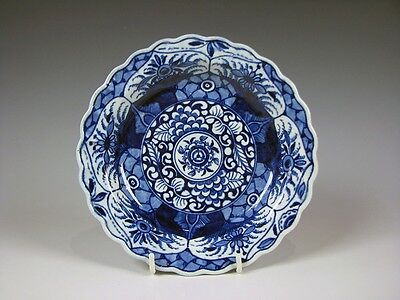 Worcester Blue and White English Porcelain K'ang Hsi Lotus Dish 18th C Antique