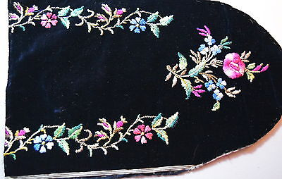 Antique pretty piece of floral embroidery on black Velvet, c1900