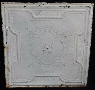 Antique Decorative Tin Ceiling Tile Panel Vintage White Metal 2' x 2' 3515-14