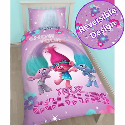 Trolls Glow Single Duvet Cover Set Childrens Bedding Reversible Free P+P New