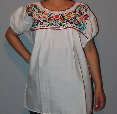 f7205b73064711 ELASTIC PEASANT PUEBLA Hand Embroidered Mexican Tunic Blouse Top Xs ...