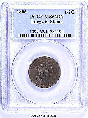 1806 1/2C US Half Cent Draped Bust Coin - PCGS MS 62 BN Large 6, Stems