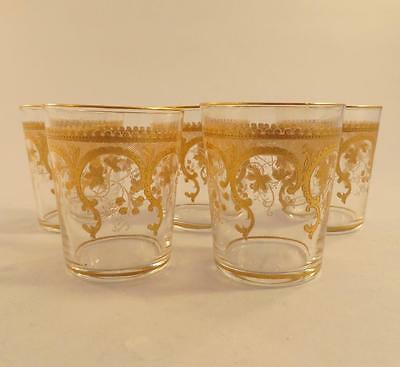 Antique Saint-Louis ? Baccarat ? Crystal Shot Glasses Gilt Liqueur Beakers